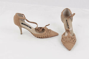 FURNARI Tan Woven Leather T BAR HEELS Pumps SHOES Size 35
