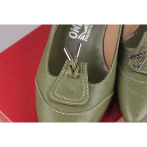 SALVATORE FERRAGAMO Green Leather Heels PUMPS Shoes Size 7