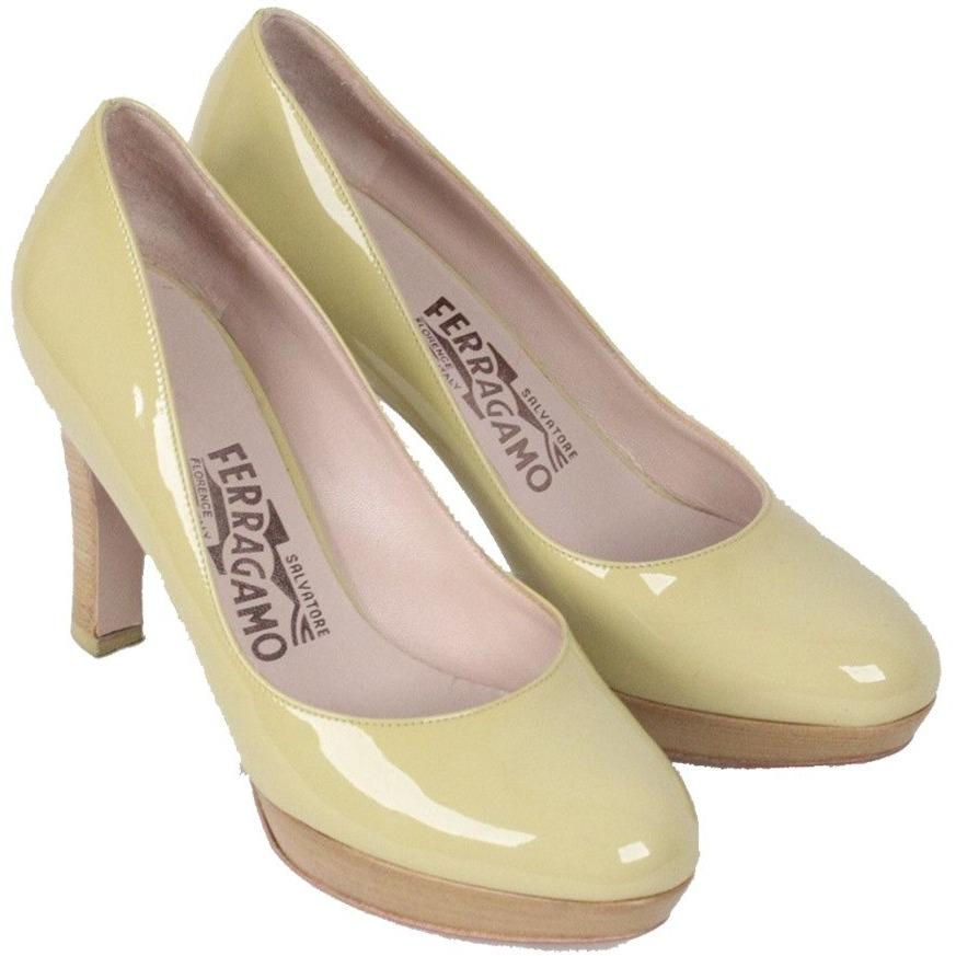 SALVATORE FERRAGAMO Green Patent Leather PUMPS Shoes HEELS Size 5