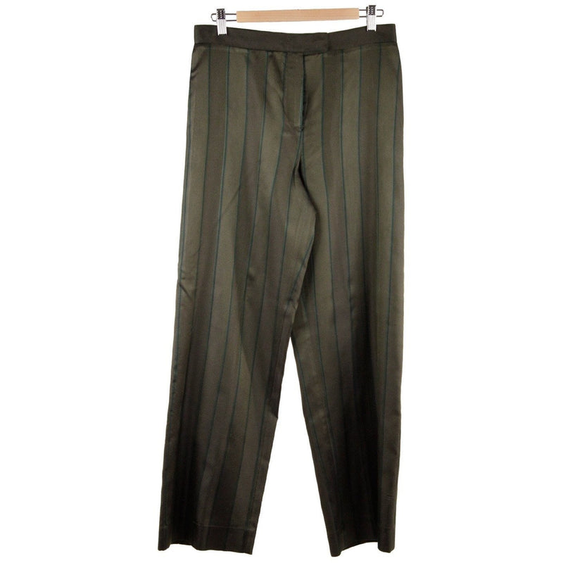 SALVATORE FERRAGAMO Green STRIPED Silk WIDE LEG TROUSERS Size 46