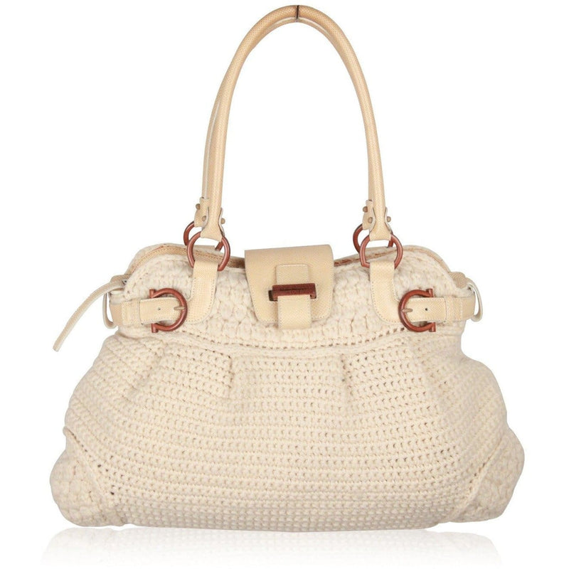 Salvatore Ferragamo Ivory Wool Knit Marisa Shoulder Bag Opherty & Ciocci