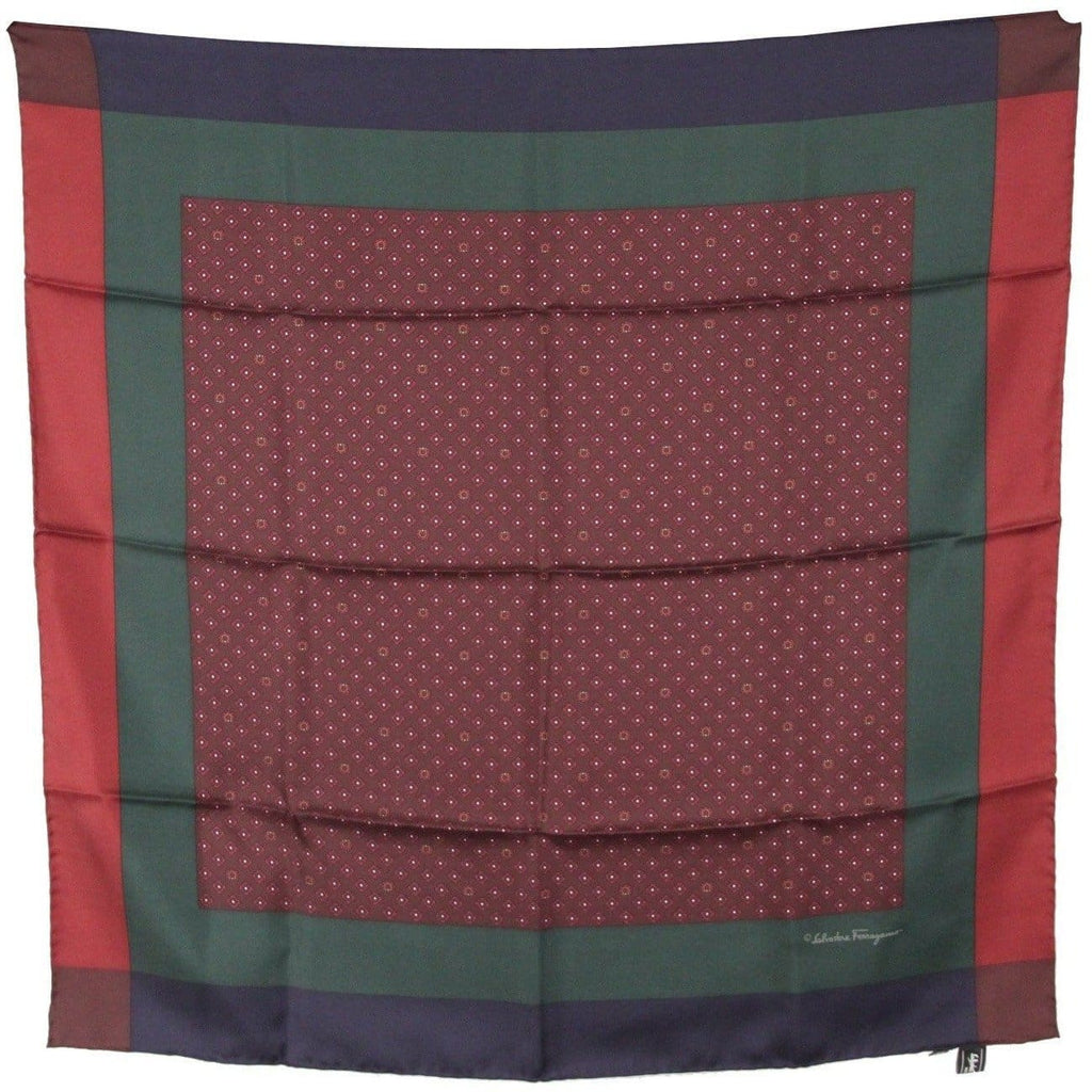 Salvatore Ferragamo Silk Scarf Color Block Tricolor Gancini Pattern Opherty & Ciocci