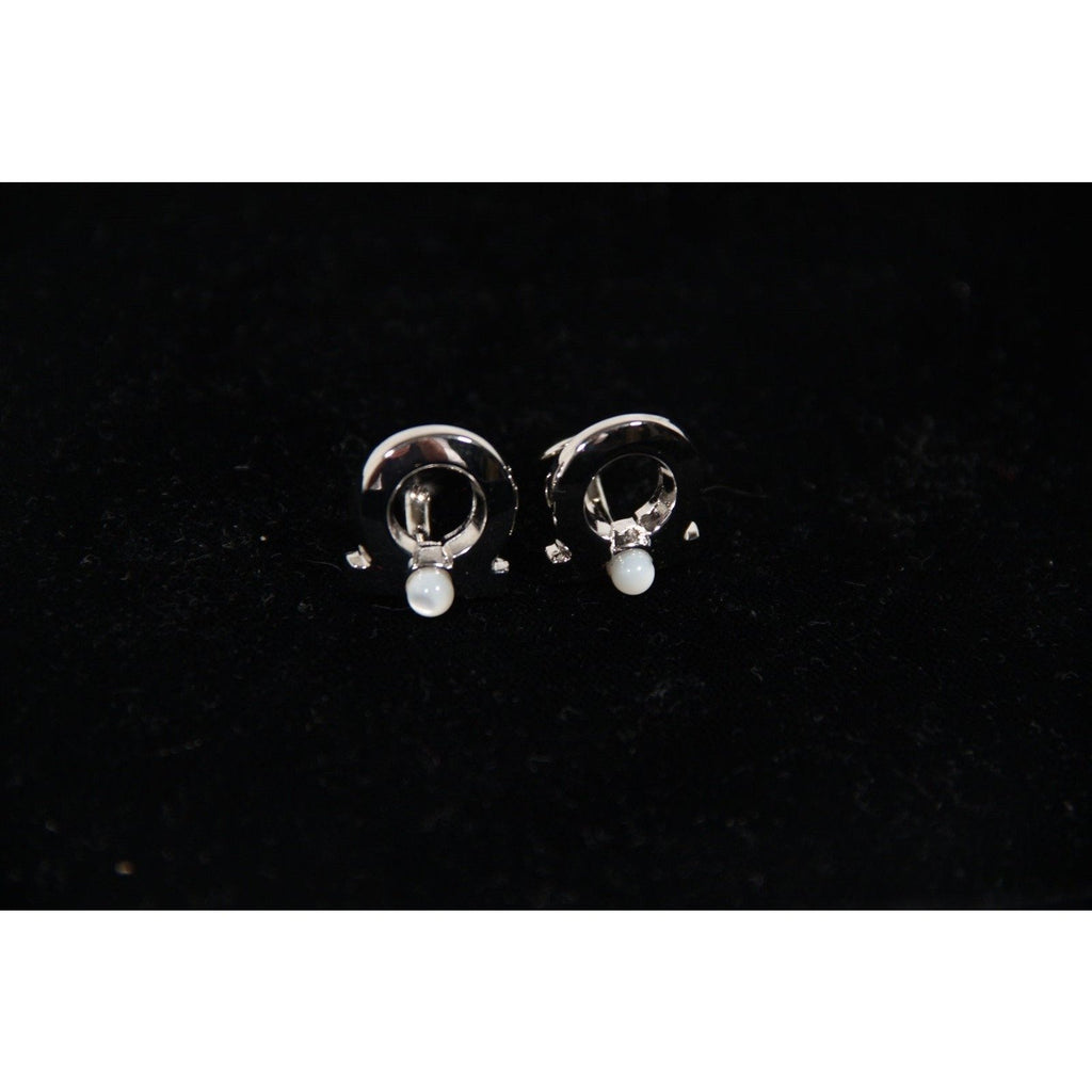 ZZ_SALVATORE FERRAGAMO Silver Metal GANCINI CUFFLINKS French Cuffs AS - OPHERTYCIOCCI