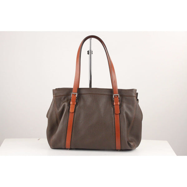 Brown Pebbled Leather Tote Shoulder Bag Opherty & Ciocci
