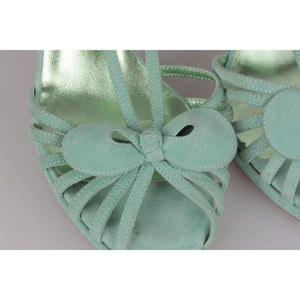 Sergio Rossi Aqua Green Suede Sandals Shoes Heels Pumps Size 36 Opherty & Ciocci