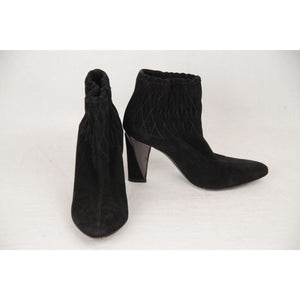 Sergio Rossi Black Suede Ankle Boots With Quilting Size 35.5 Opherty & Ciocci