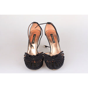 SERGIO ROSSI Black Suede D'Orsay Shoes HEELS PUMPS Size 36.5 IT