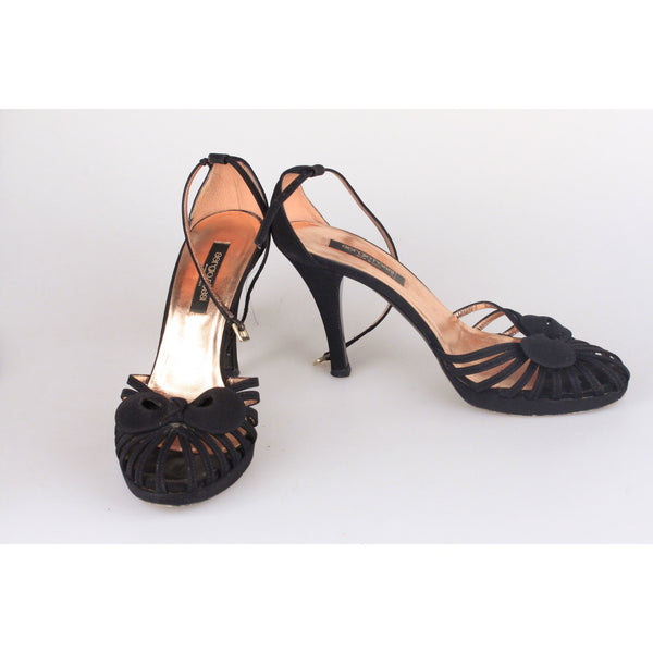 SERGIO ROSSI Black Suede D'Orsay Shoes HEELS PUMPS Size 36.5