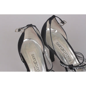 SERGIO ROSSI BlackFabric D'Orsay Shoes HEELS PUMPS with Crystals 36