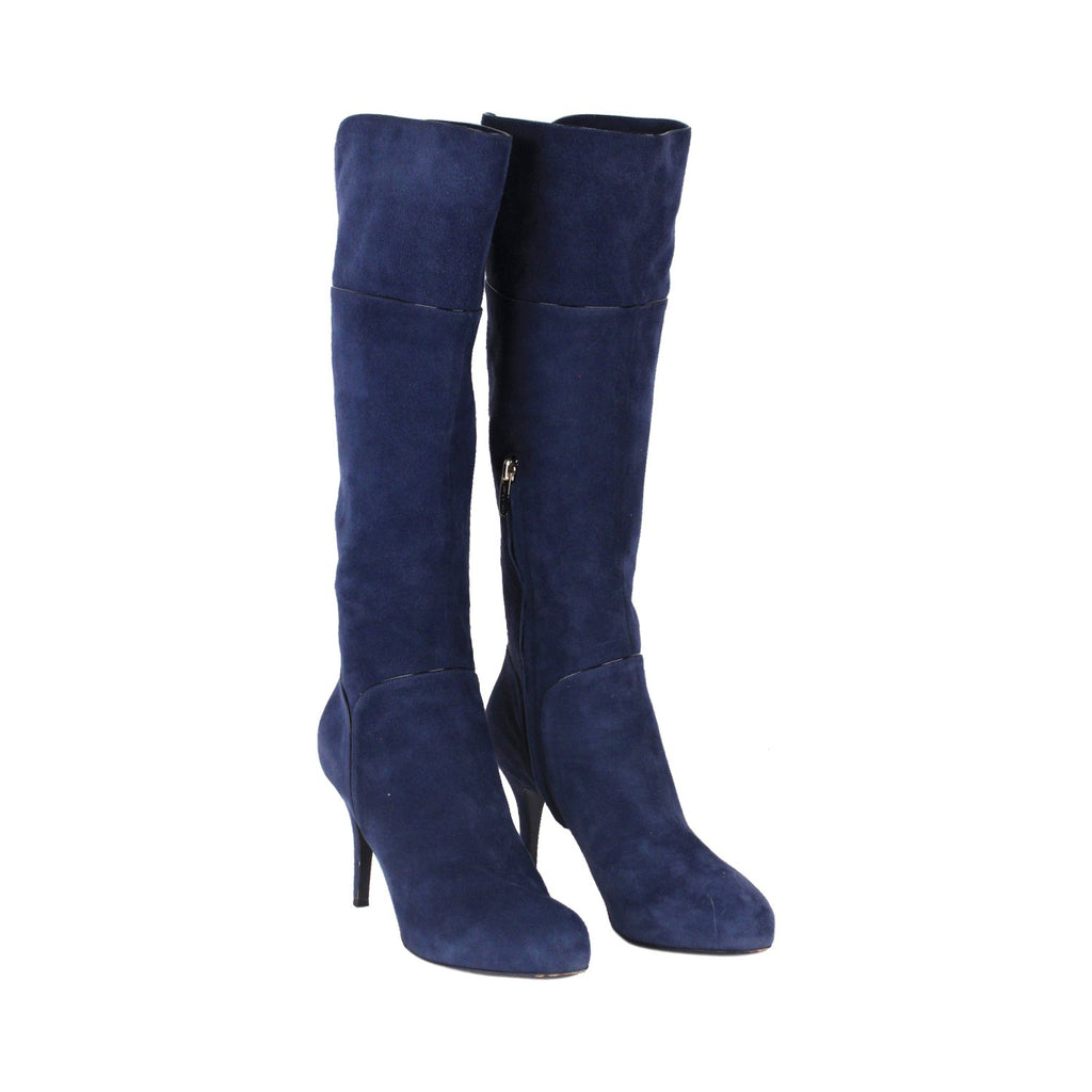 SERGIO ROSSI Blue Suede HEELED BOOTS Shoes SIZE 37