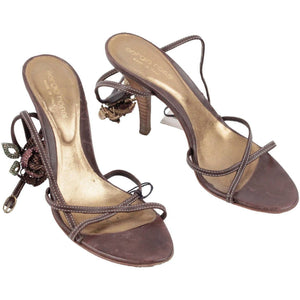 Sergio Rossi Brown Leather Sandals Shoes Heels W/ Rhinestones Size 35 1/2 Opherty & Ciocci