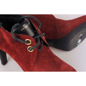Sergio Rossi Burgundy Suede Lace Up Ankle Boots Size 37 Opherty & Ciocci