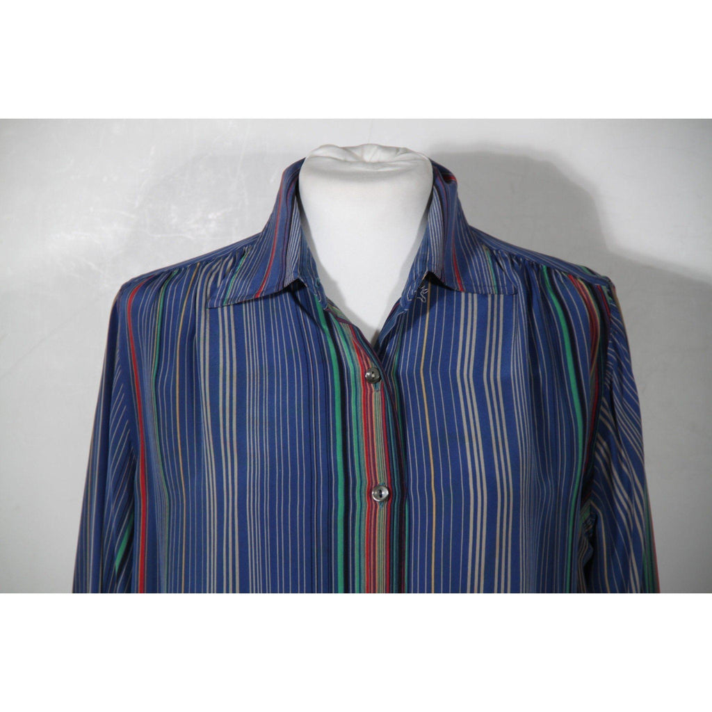 Serra Roma Vintage Blue Striped Silk Button Down Shirt Blouse Sz 44 Opherty & Ciocci