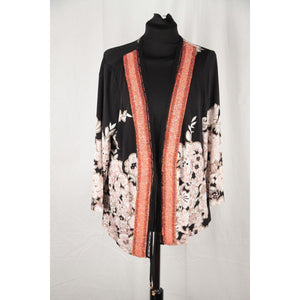 Severi Darling Black Jersey Cardigan With Beaded Trim Size 50 Opherty & Ciocci