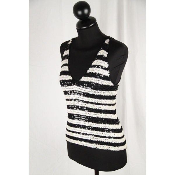 Silk And Soie Black & Whte Knit Sequin Tank Top Size 42 Opherty & Ciocci