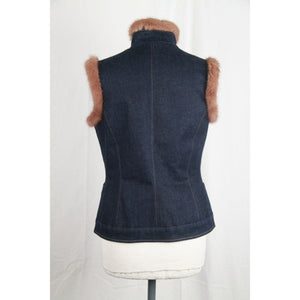 Silk & Soie Blue Denim Gilet Vest Sleeveless Jacket W/ Fur Trim Size 42 Opherty & Ciocci