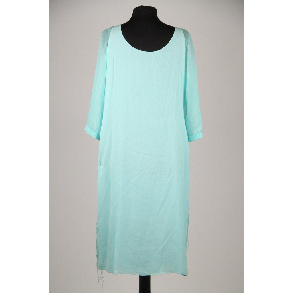 Silk & Soie Light Blue Silk Embellished Beaded Long Sleeve Dress Size 44 Opherty Ciocci