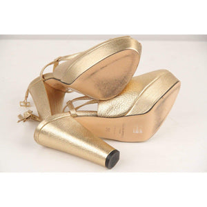 Sonia Rykiel Gold Metallic Sandals Heels Shoes Pumps Size 36 Opherty & Ciocci