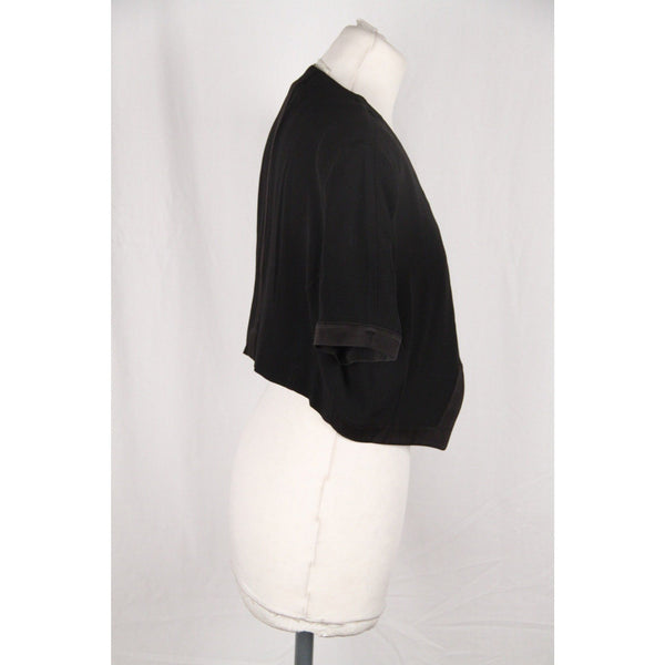 SPAZIO Vintage Black Viscose OPEN FRONT Cropped JACKET Size 44
