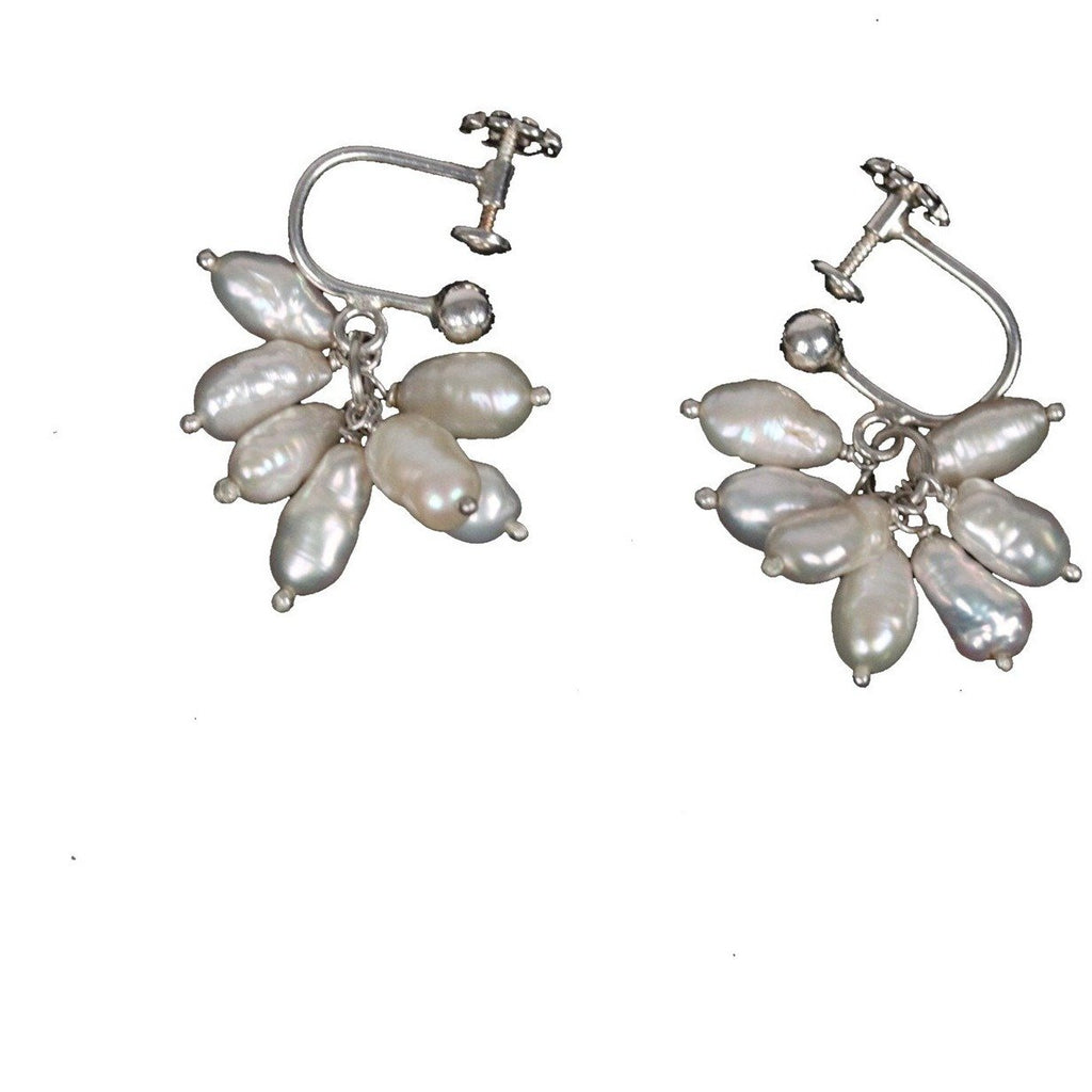 STERLING SILVER & Baroque PEARLS EARRINGS