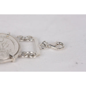Sterling Silver BRACELET with 4 Silver QUARTER DOLLARS Coin WASHINGTON