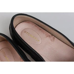 Stonefly Black Perforated Leather Kelly Loafers Mocassins Flat Shoes Size 37 Opherty & Ciocci