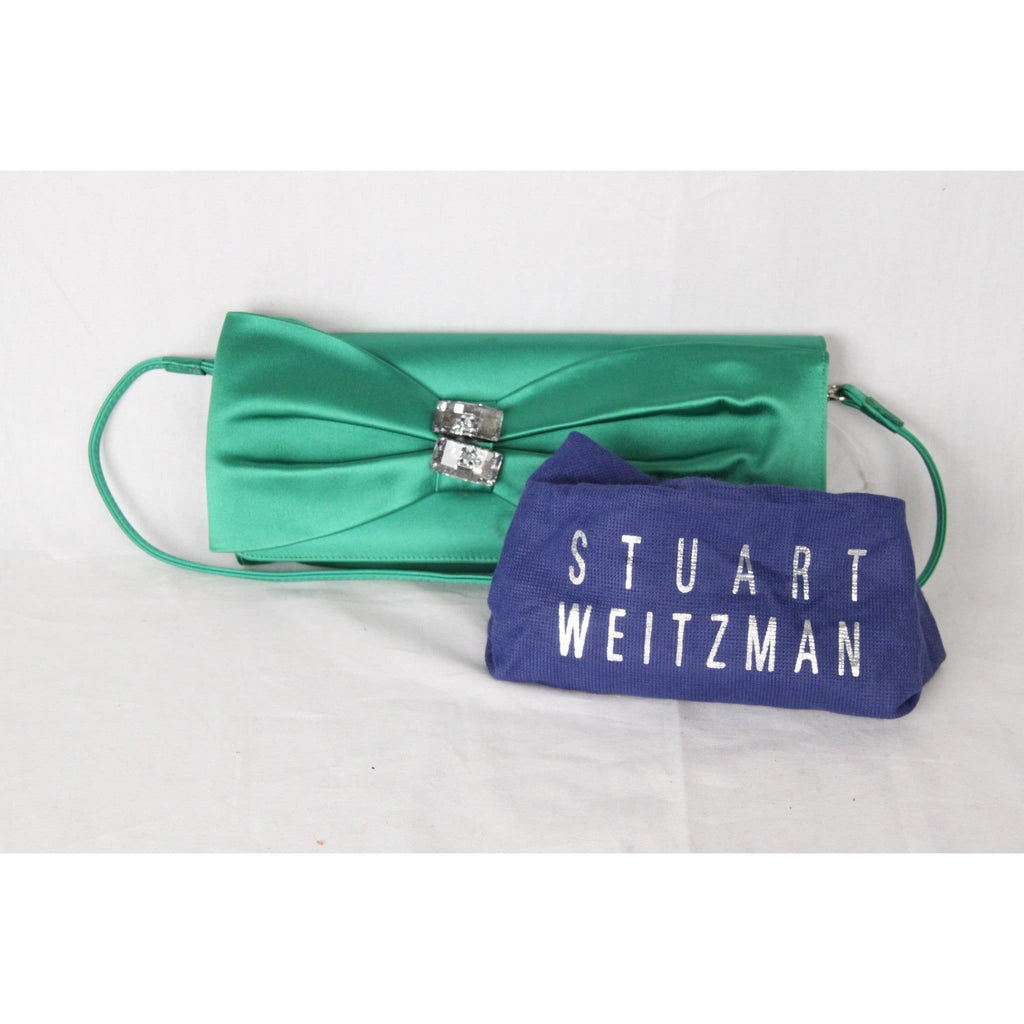 Stuart Weitzman Green Satin Evening Bag Clutch Opherty & Ciocci