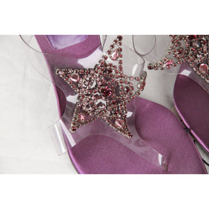 Stuart Weitzman Purple Embellished Heels Thong Sandals Pumps Shoes 38.5 Opherty & Ciocci
