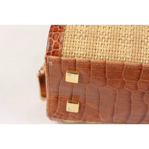 Raffia And Embossed Leather Handbag Opherty & Ciocci