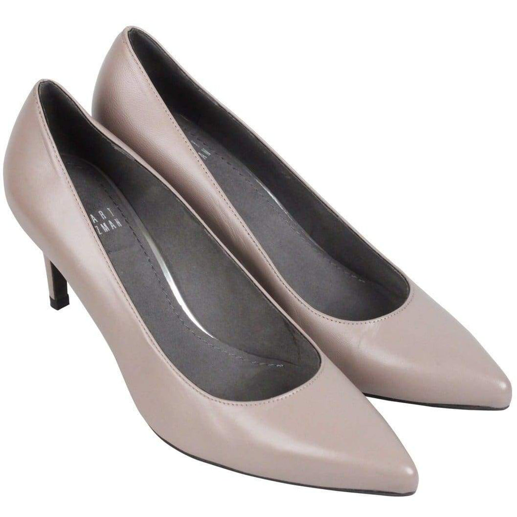 Stuart Weitzman Taupe Leather Closed Toe Slip On Shoes Heels Size 37 Opherty & Ciocci