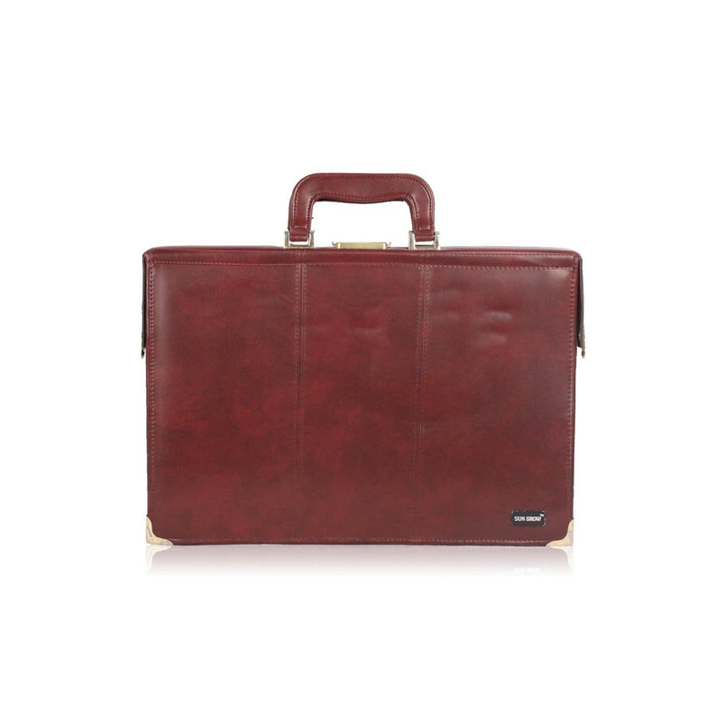 Sun Show Vintage Burgundy Leather Briefcase Attache Work Bag Opherty & Ciocci