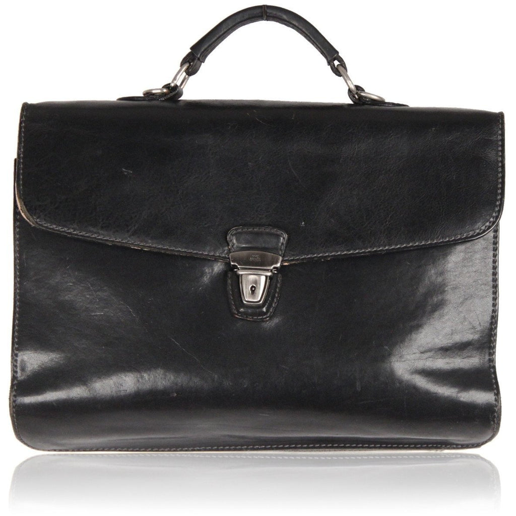THE BRIDGE Black Leather BRIEFCASE WORK Business BAG