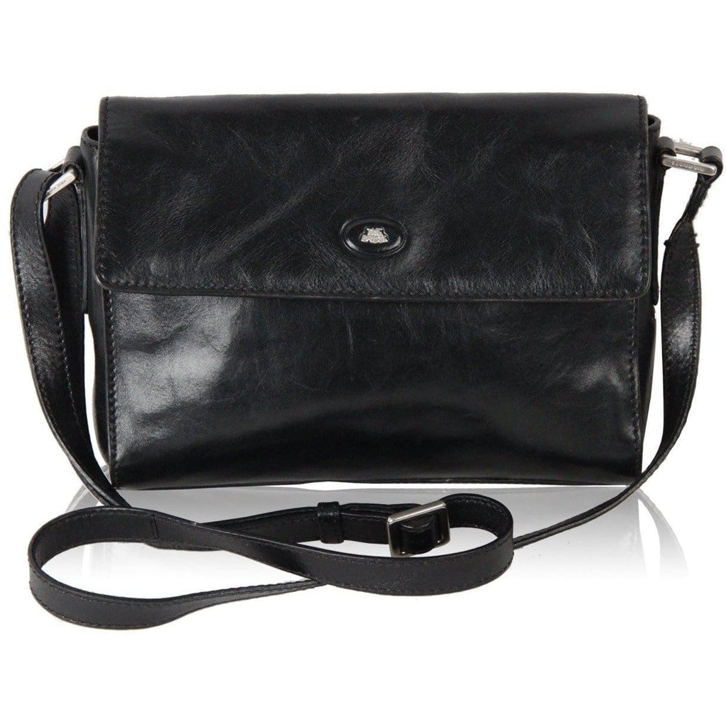 The Bridge Black Leather Messenger Bag Crossbody Opherty & Ciocci