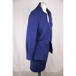 THIERRY MUGLER ACTIV Vintage Blue Wool SKIRT SUIT Size 42- 44