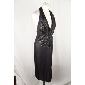 Mugler Black Beaded Halterneck Dress Deep V Neckline Size L Opherty & Ciocci
