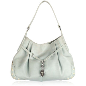 TOD'S Baby Blue Leather HOBO BAG w/ Pleating