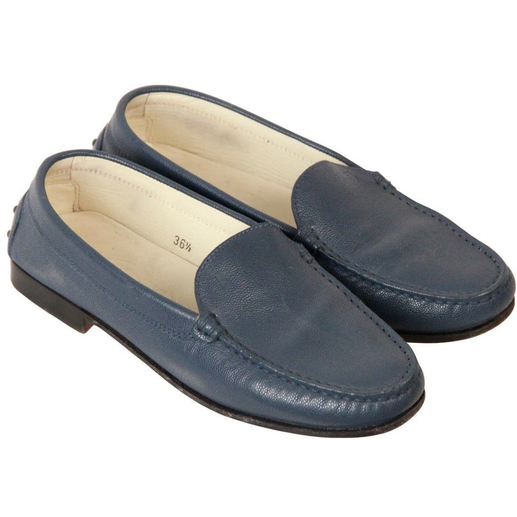 Tods Blue Leather Loafers Mocassins Flat Shoes Size 36.5 Opherty & Ciocci