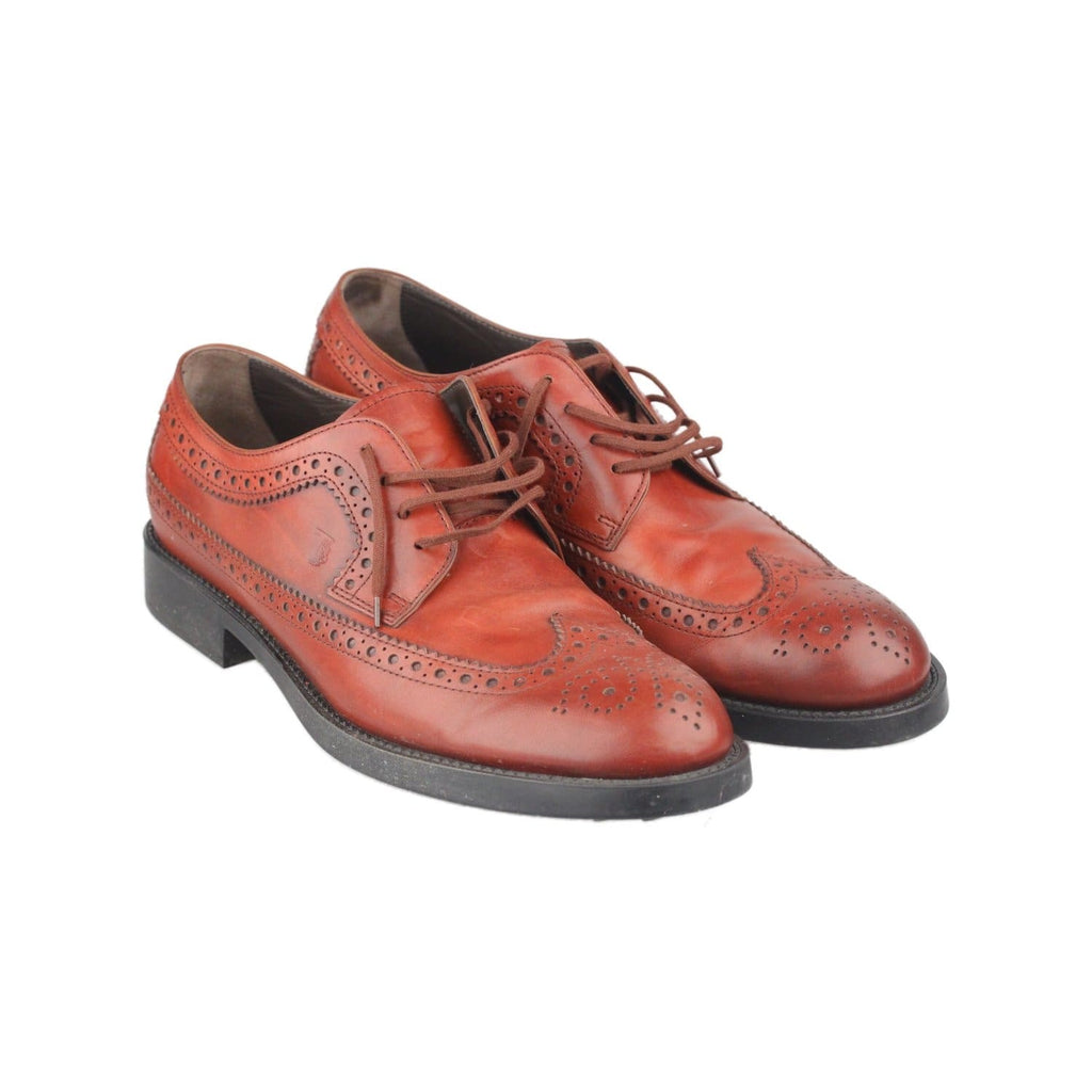 Tods Brown Leather Men Brogues Lace-Up Shoes Size 8.5 Opherty & Ciocci