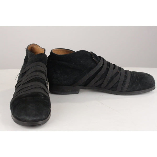 Vintage Black Suede Shoes With Elastic Straps Opherty & Ciocci