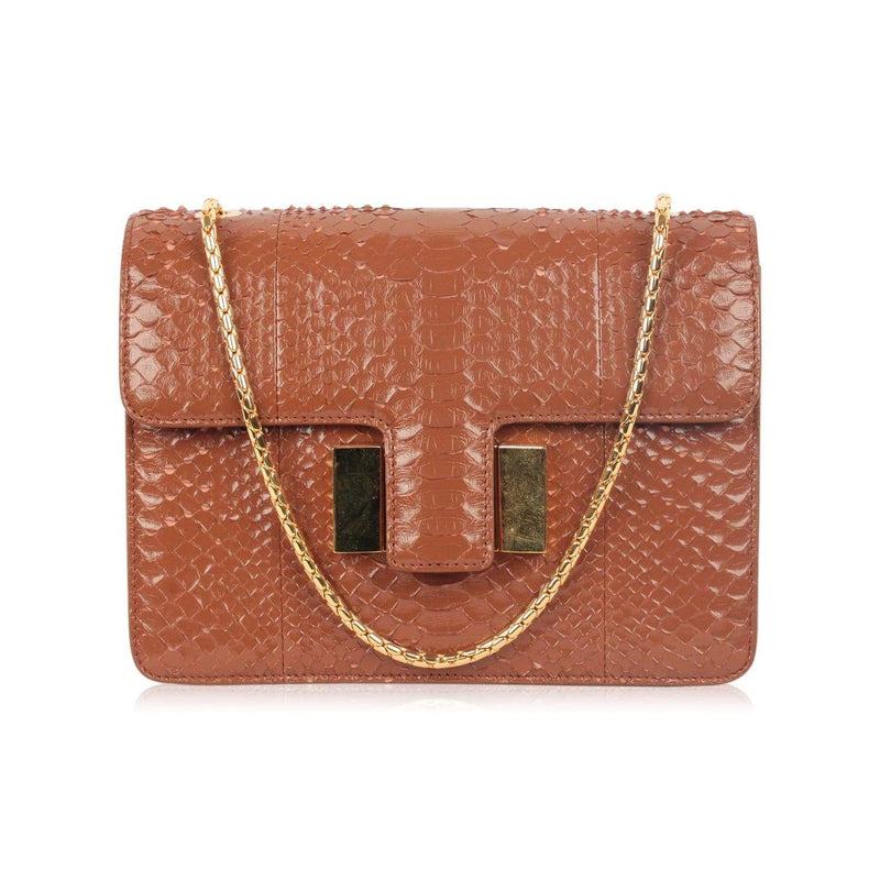 Tom Ford Tan Snakeskin Sienna Structured Shoulder Bag Opherty & Ciocci