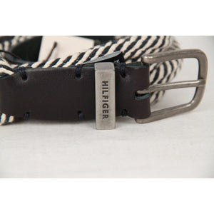 Tommy Hilfiger White & Navy Rope Belt With Leather Detail Size 95/38 Opherty & Ciocci