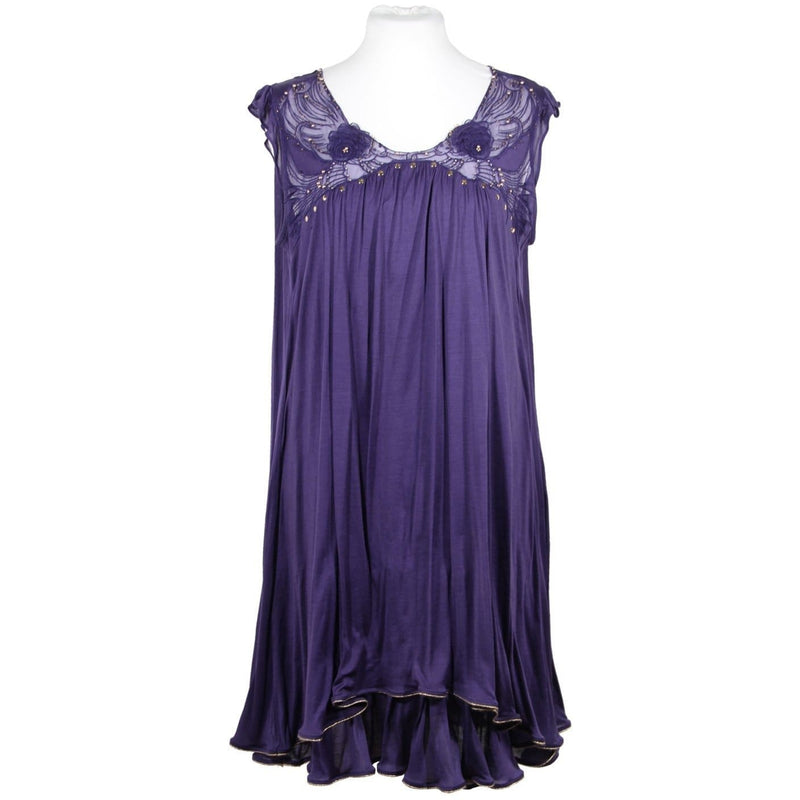 Tsumori Chisato Purple Silk Sleeveless Smock Dress Short Lenght Size 2 Opherty & Ciocci