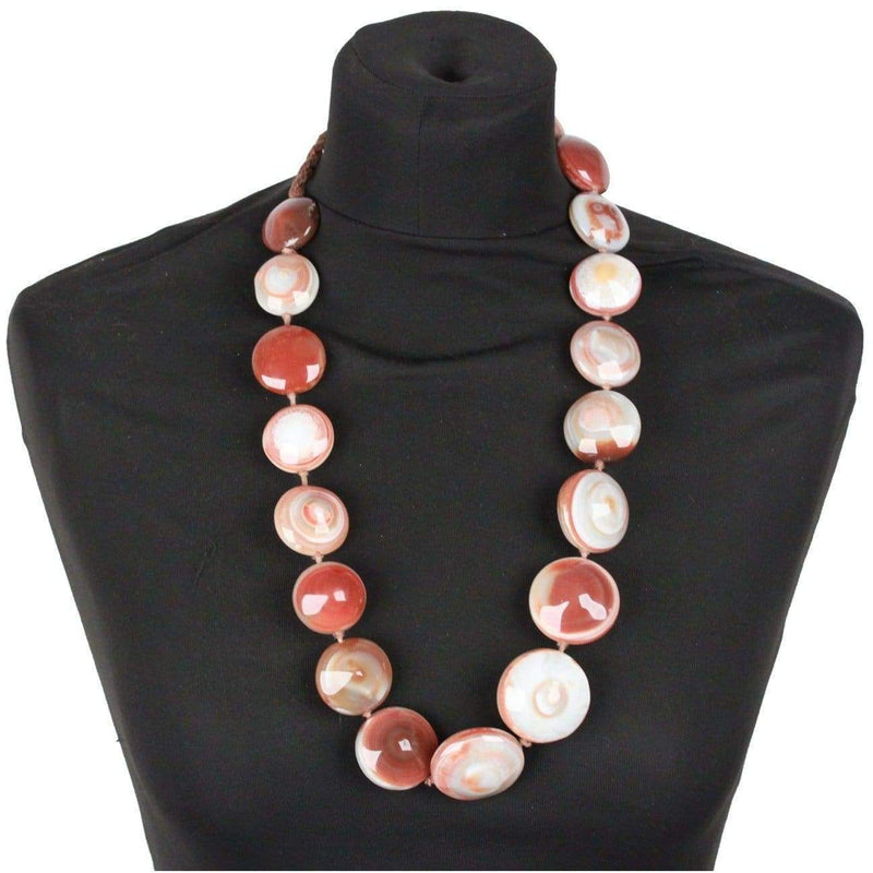 Agate Gemstone Chunky Circle Coin Beads Necklace Opherty & Ciocci