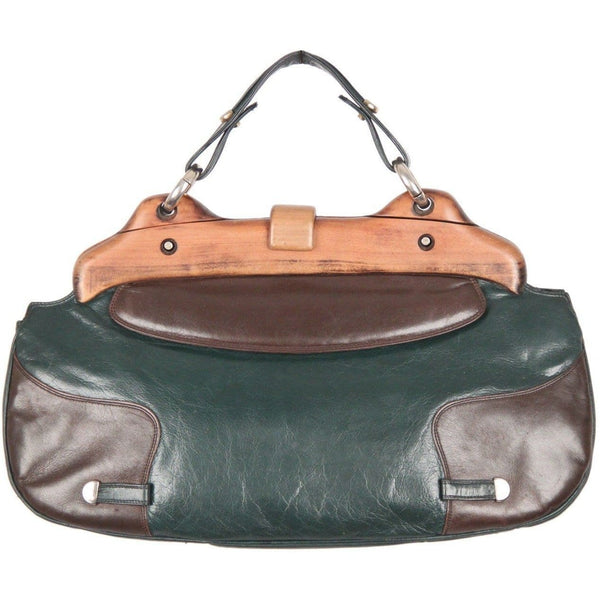 Etna Vintage Green & Brown Leather Handbag W/ Wood Frame Opherty & Ciocci