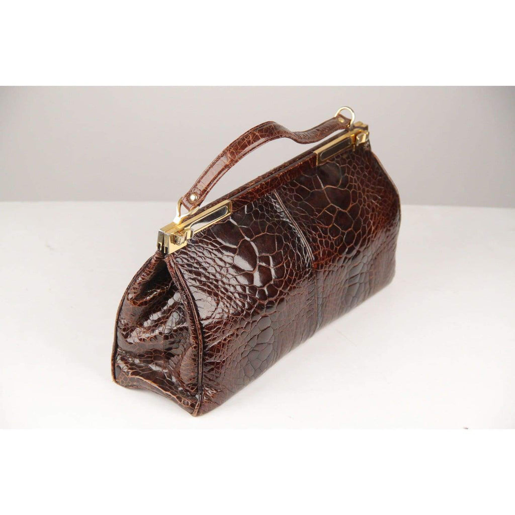 Fabbri Vintage Brown Exotic Skin Leather Doctor Top Handle Bag Opherty & Ciocci