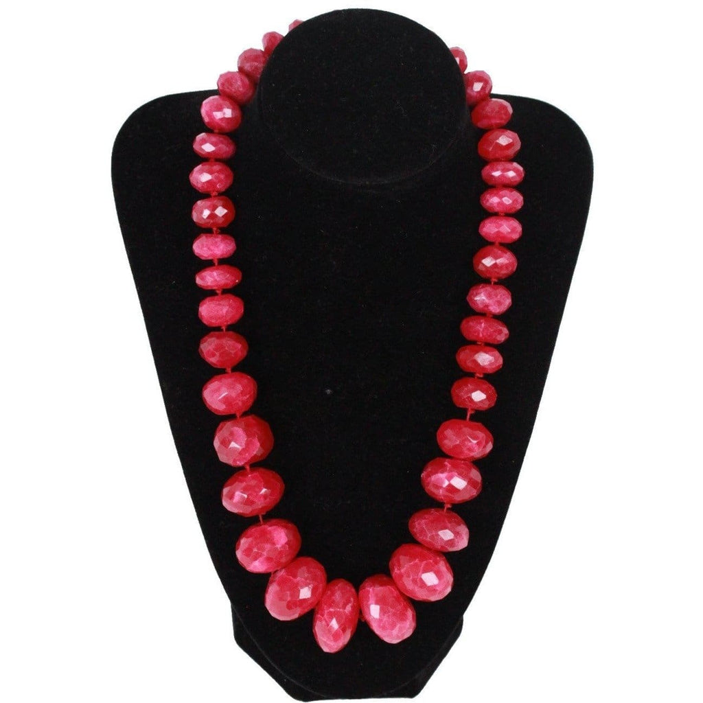 Graduated Red Ruby Look Faceted Glass Beads Necklace Opherty & Ciocci