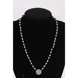 Handmade 4Mm Pearls & Iolite Beads Necklace W/ Mother Of Pearl Pendant Opherty Ciocci