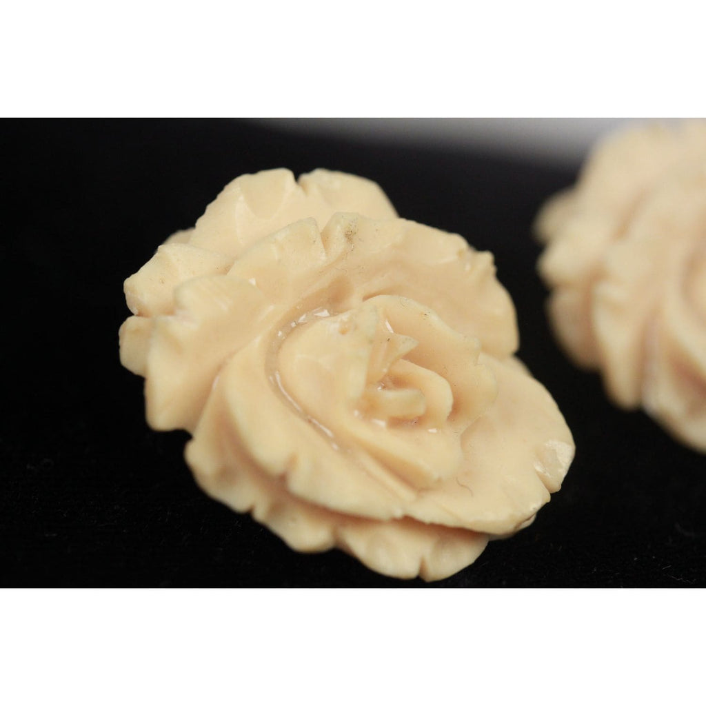 Handmade Beige Resin Rose Earrings Opherty & Ciocci