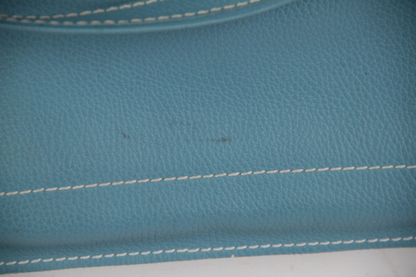 Italian Handmade Light Blue Leather Foldable Tote Clutch Handbag W/ Strap Opherty & Ciocci