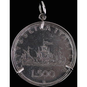 Italy 500 Lire Coin Pendant Caravel Ships Sterling Silver Bezel Opherty & Ciocci